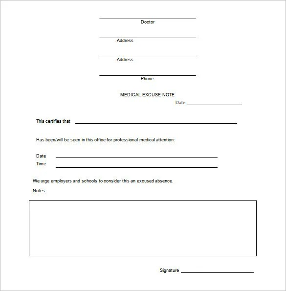 Doctor Note Templates for Work - 6+ Free Sample, Example, Format - doctor note example