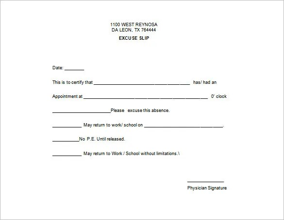 Doctor Excuse Template \u2013 9+ Free Sample, Example, Format Download