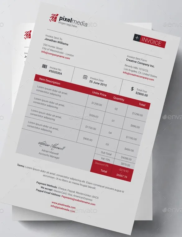 Invoice Template - 41+ Free Word, Excel, PDF, PSD Format Download - free business bill of sale template