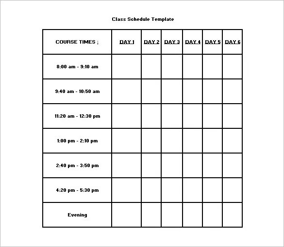Class Schedule Template \u2013 8+ Free Sample, Example Format Download - class schedule template sample