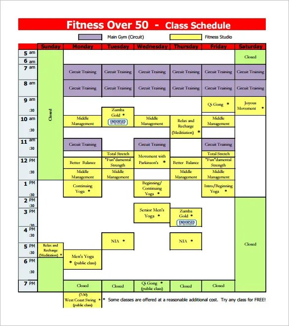 Class Schedule Template \u2013 8+ Free Sample, Example Format Download