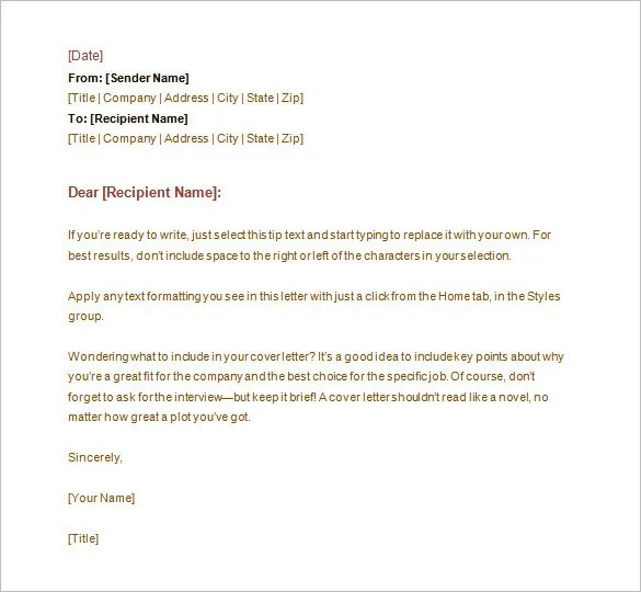 Letter Templates u2013 30+ Free Word, Excel, PDF, PSD Format Download - sample professional business letter