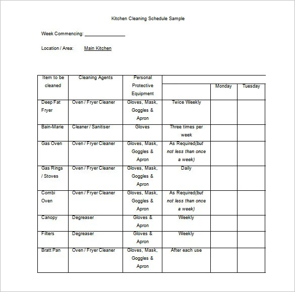 Cleaning Schedule Template - 12+ Free Sample, Example Format