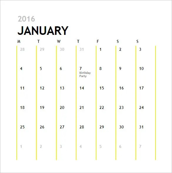 Calendar Template - 41+ Free Printable Word, Excel, PDF, PSD - sample activity calendar template