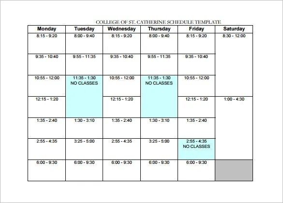 college schedule example - Funfpandroid - class schedule template sample