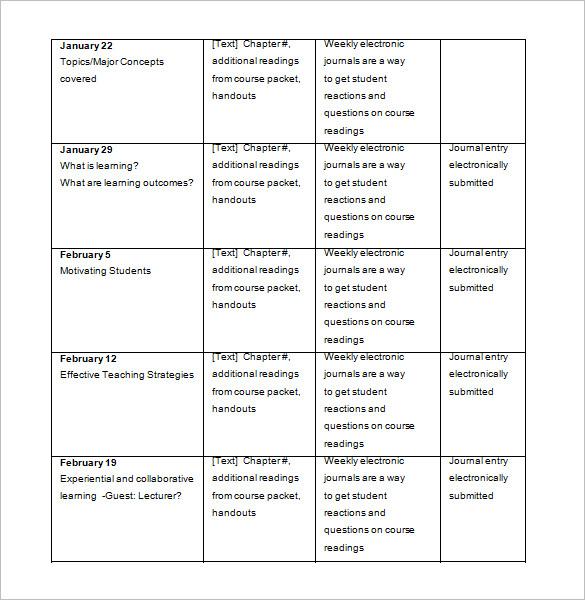 College Schedule Template \u2013 7+ Free Sample, Example Format Download - college schedule template