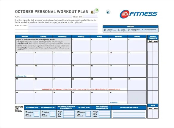Workout Schedule Template \u2013 7+ Free Sample, Example Format Download