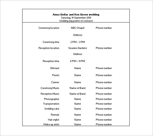 17+ Wedding Schedule Templates - Free Sample, Example Format