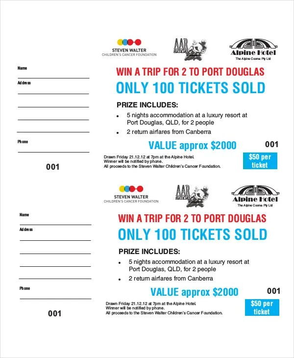 Printable Raffle Ticket Template - 18+ Free Word, Excel, PDF - blank tickets template
