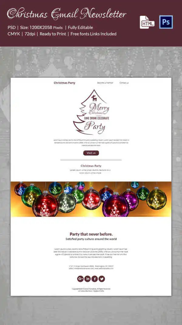 38+ Christmas Email Newsletter Templates - Free PSD, EPS, AI, HTML
