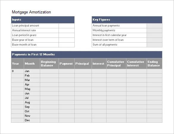 Amortization Schedule Template - 6+ Free Sample, Example Format - Mortgage Amortization Template