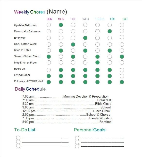 pdf chore chart template