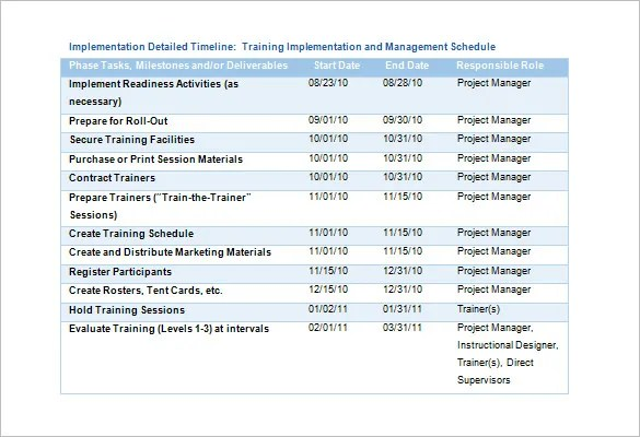 Training Schedule Template \u2013 8+ Free Sample, Example Format Download - sample marketing schedule