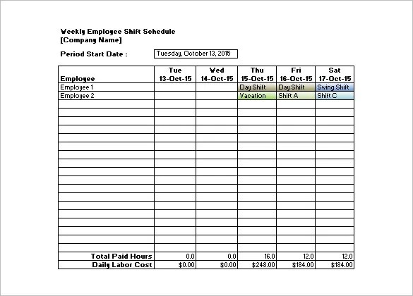 Shift Schedule Templates - 11+ Free Sample, Example Format Download - shift workers schedule