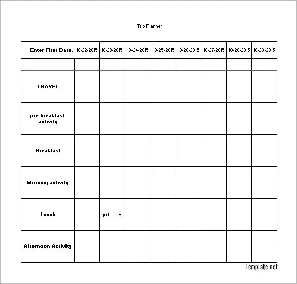 Sample Activity Calendar Template Activity Calendar Template