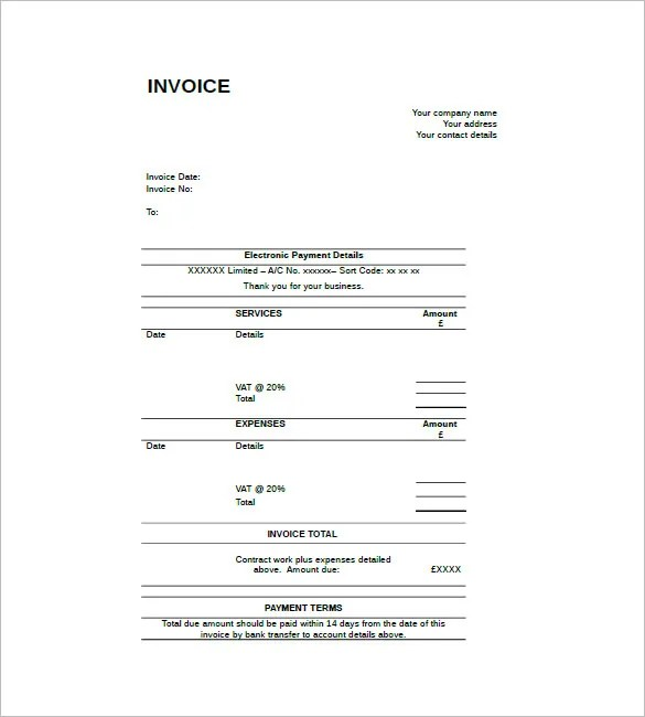 Contract Invoice Template \u2013 8+ Free Word, Excel, PDF Format Download