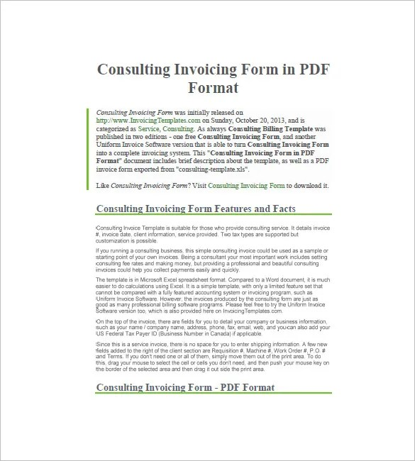Consultant / Consulting Invoice Template \u2013 7+ Free Word, Excel, PDF