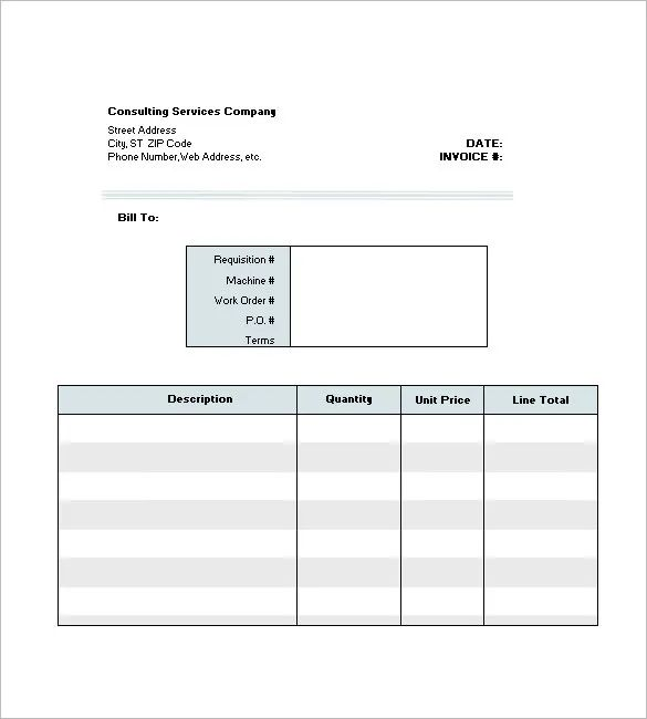 consulting services invoice template excel