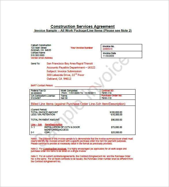 8+ Construction Invoice Template - Free Word, PDF Format Download