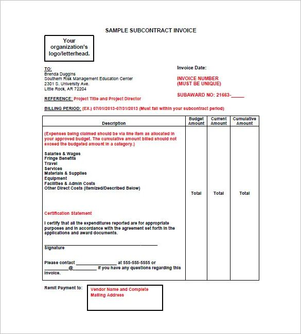 construction invoices free