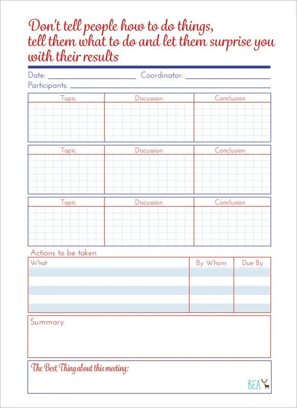 Meeting Schedule Template \u2013 9+ Free Sample, Example Format Download