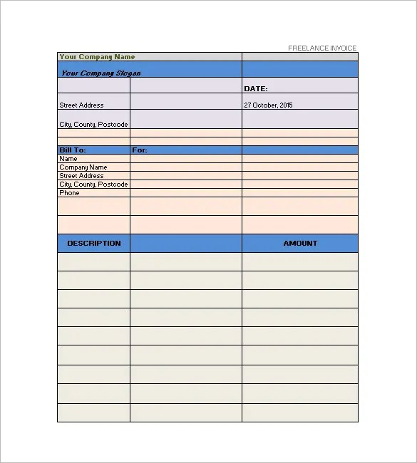 Freelancer Invoice Template - 13+ Free Word, Excel, PDF Format