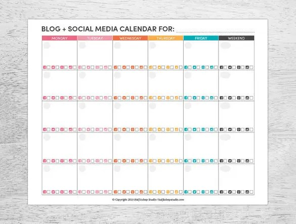 Social Media Schedule Template \u2013 10+ Free Sample, Example Format - social media schedule template
