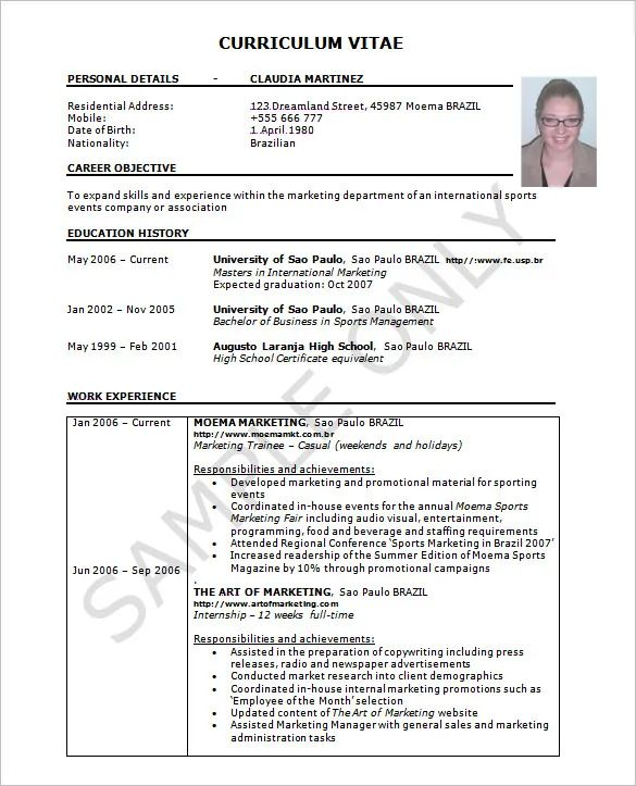 cv excel template