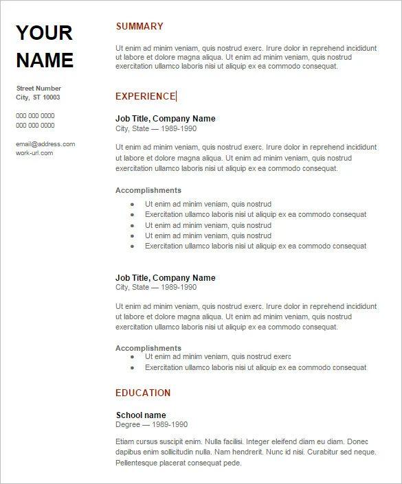 resume format download doc