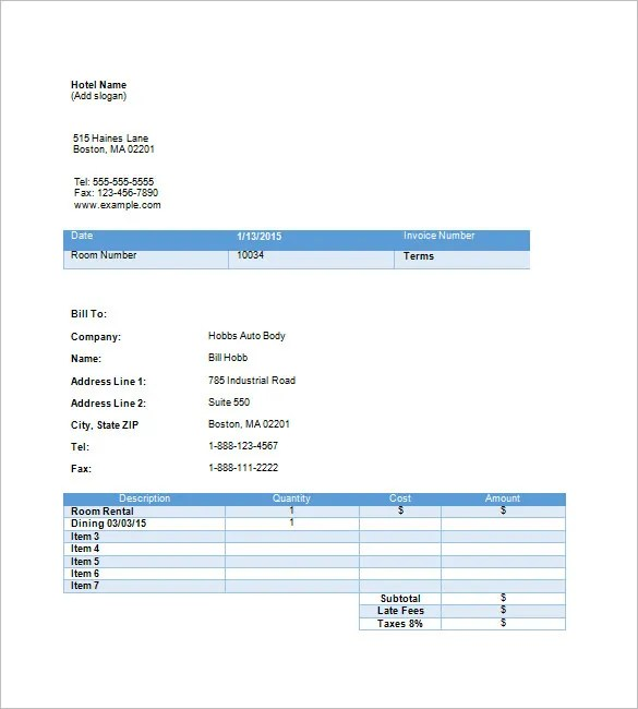 Attractive ... Hotel Invoice Templates U2013 15+ Free Word, Excel, PDF Format   Is  Receival ...