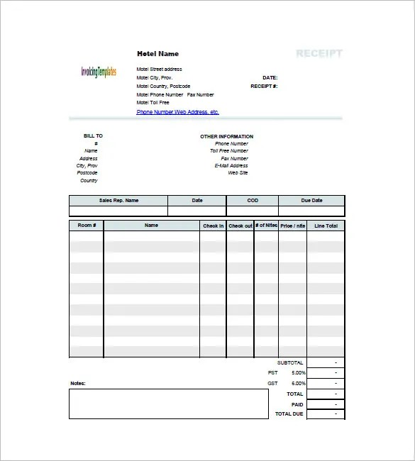 Hotel Invoice Templates - 15+ Free Word, Excel, PDF Format Download - Hotel Invoice