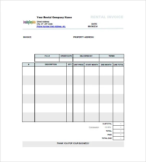 Lease Invoice Template - 14+ Free Word, Excel, PDF Format Download