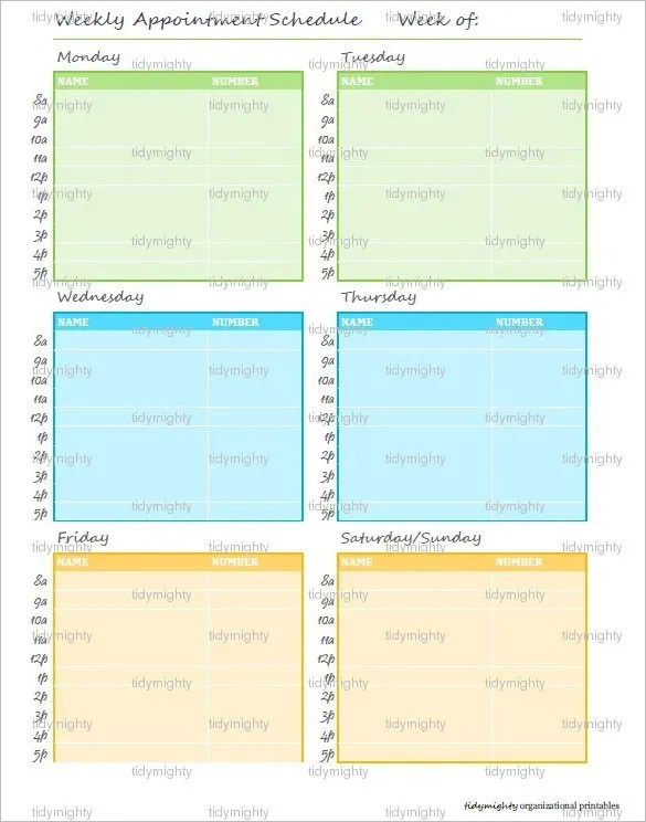 Appointment Schedule Template \u2013 7+ Free Sample, Example Format