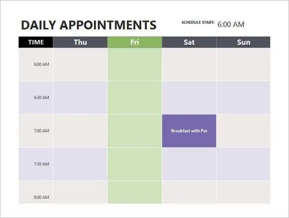 Sample Schedules Appointment Scheduling Once An Appointment Is