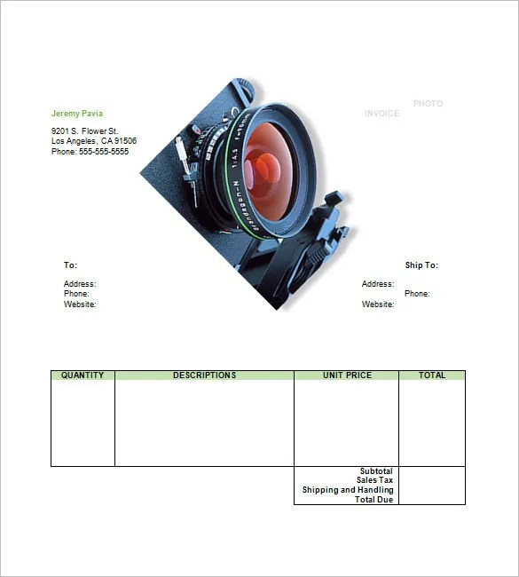 Photography Invoice Templates \u2013 9+ Free Word, Excel, PDF Format - invoice template for photographers