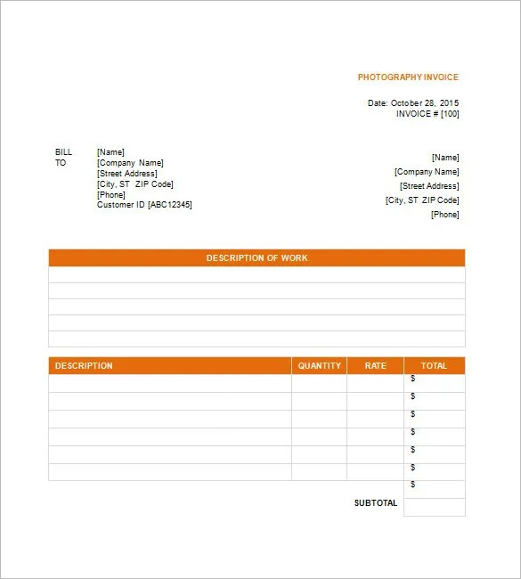 Photography Invoice Template \u2013 6+ Free Sample, Example, Format - bill invoice template free