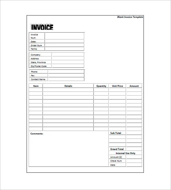 Standard Invoice Template \u2013 8+ Free Sample, Example, Format Download - invoice forms templates