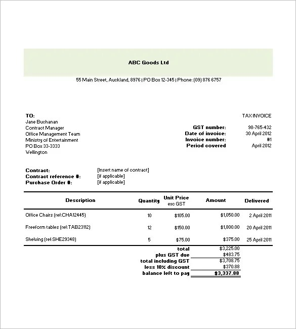 Tax Invoice Templates u2013 10+ Free Word, Excel, PDF Format Download - free invoice template for excel