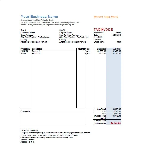 Tax Invoice Template u2013 10+ Free Sample, Example, Format Download - example invoice