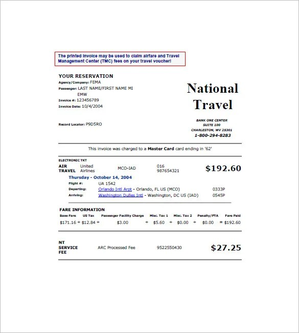 Travel Invoice Templates - 18+ Free Word, Excel, PDF Format Download - travel invoices