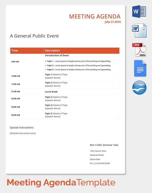 18+ Meeting Agenda Templates - Free Sample, Example, Format Free - sample meeting agenda 2