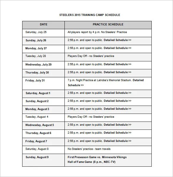 Camp Schedule Template \u2013 10+ Free Sample, Example Format Download