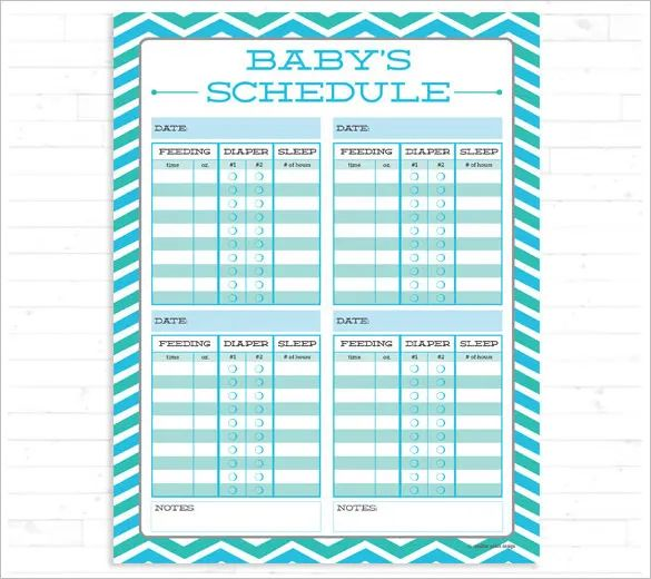 baby daily routine template
