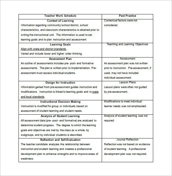 Teacher Schedule Template u2013 9+ Free Sample, Example Format - sample assessment plan