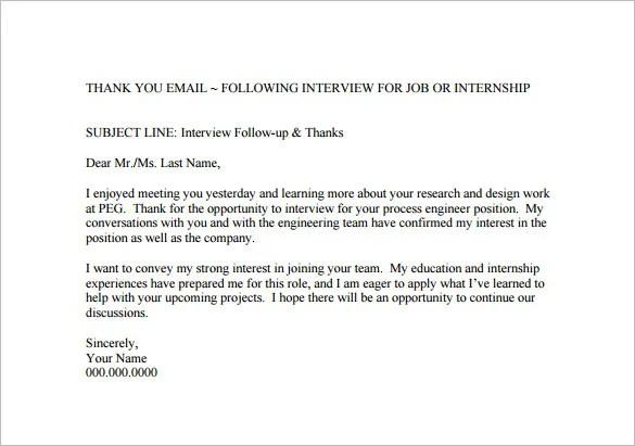 Thank You Email After Job Interview u2013 8+ Free Sample, Example - thank you email template
