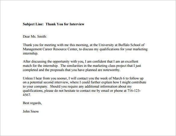 Post Interview Thank You Email u2013 6+ Free Sample, Example, Format - thank you email template