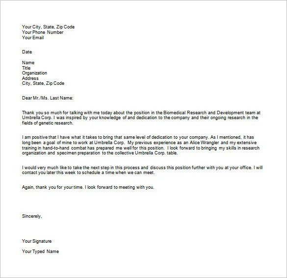 Interview Thank You Email Template u2013 7+ Free Sample, Example - thank you email template