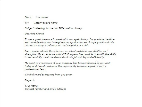 Thank You Email After Second Interview u2013 5+ Free Sample, Example - thank you email template