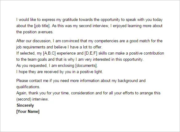 Thank You Email After Second Interview u2013 5+ Free Sample, Example - thank you email after job offer
