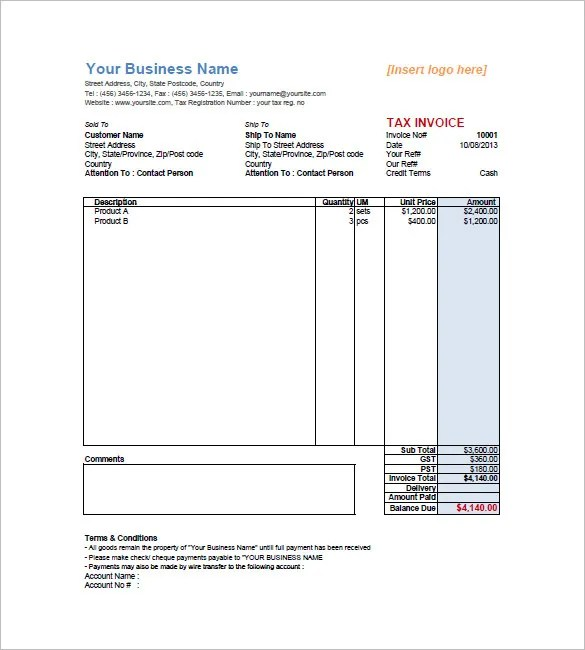 Retail Invoice Template - 12+ Free Word, Excel, PDF Format Download - australian invoice template